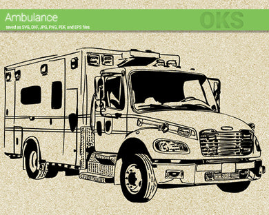 ambulance svg, dxf, vector, eps, clipart, cricut, download