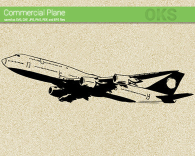 commercial plane, airplane svg, dxf, vector, eps, clipart, cricut, download
