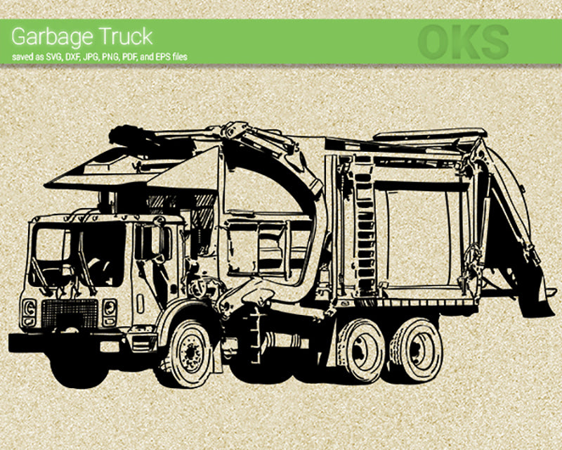 garbage truck svg, dxf, vector, eps, clipart, cricut, download