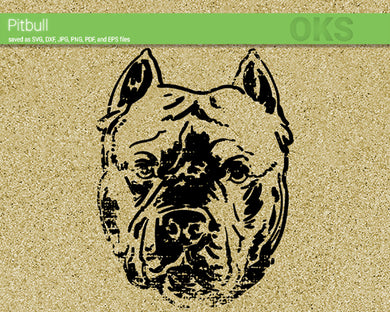 pitbull dog svg, dxf, vector, eps, clipart, cricut, download