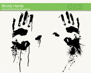 bloody hands svg, dxf, vector, eps, clipart, cricut, download