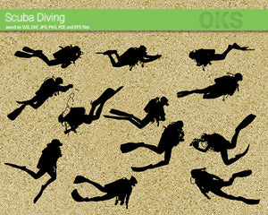 scuba diving svg, dxf, vector, eps, clipart, cricut, download
