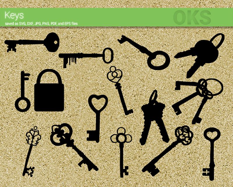 keys svg, dxf, vector, eps, clipart, cricut, download
