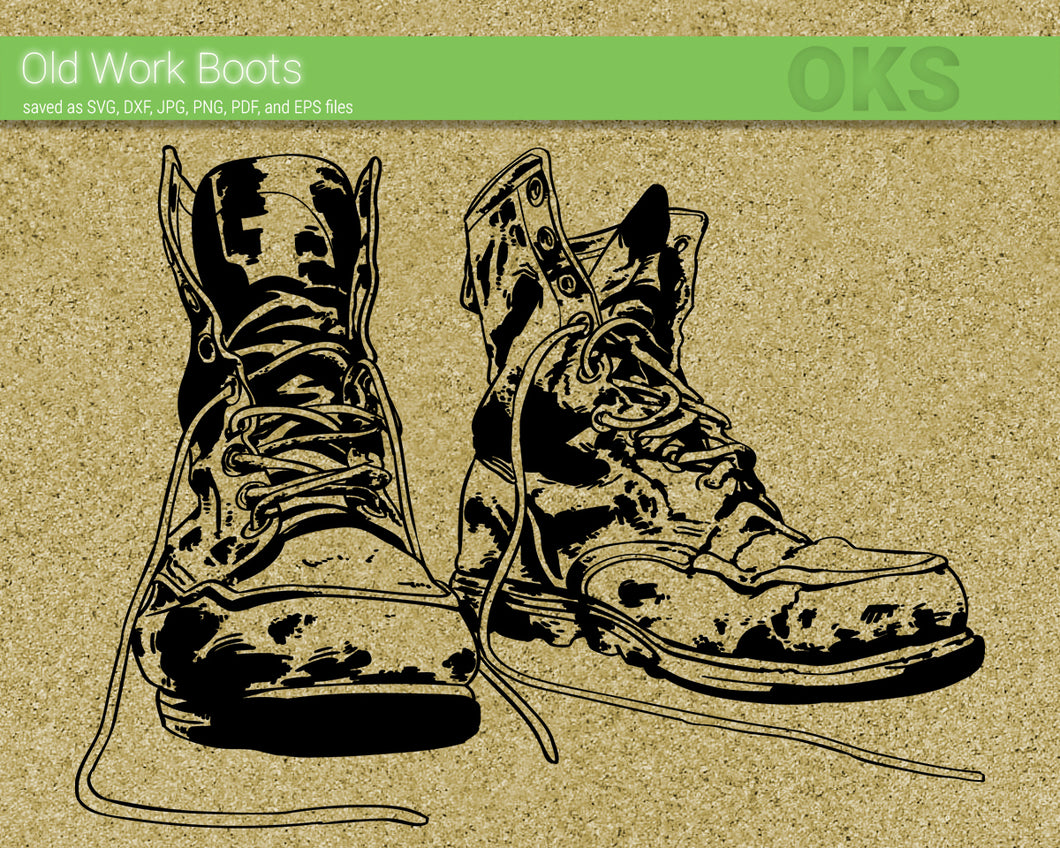 old work boots svg, dxf, vector, eps, clipart, cricut, download