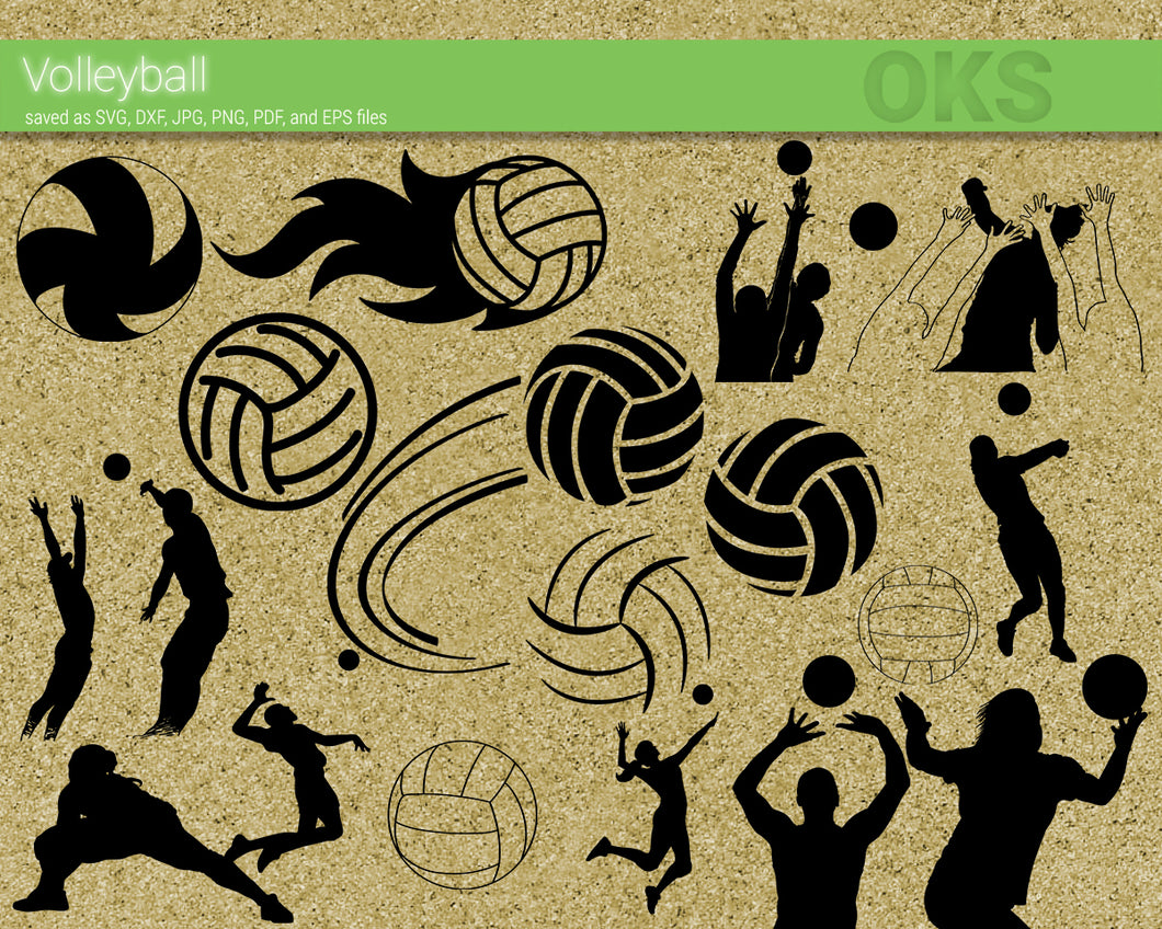 volleyball elements svg, dxf, vector, eps, clipart, cricut, download