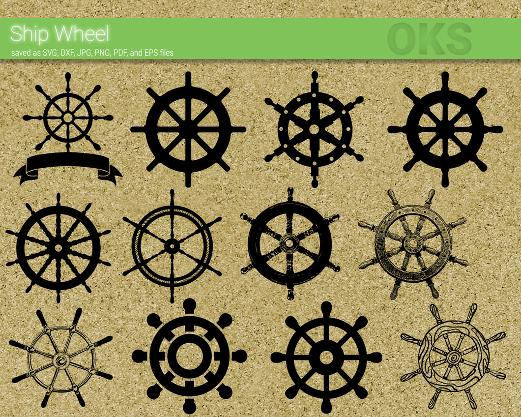 ship wheel svg, dxf, vector, eps, clipart, cricut, download