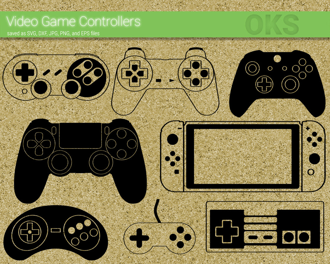 video game controller svg, dxf, vector, eps, clipart, cricut, download