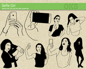 selfie, phone, girl, Crafteroks, svg, free, free svg file, eps, dxf, vector, logo, silhouette, icon, instant download, digital download, cutting file, svg clipart, cricut, svg vector, svg download, svg digital, clipart svg, vector svg, https://crafteroks.com/