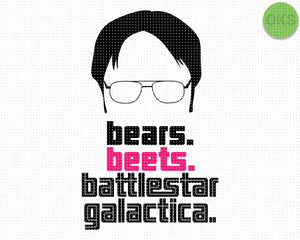 bears, beets, battlestar galactica SVG file, DXF, free SVG cut file instant download for cricut and other uses