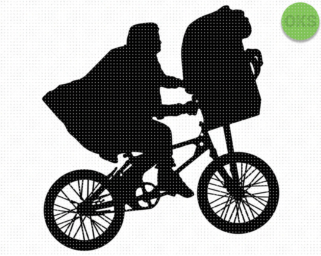 ET flying bicycle, bike, SVG cut files, DXF, vector EPS cutting file instant download for cricut and other uses