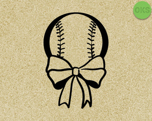 baseball with ribbon svg, dxf, vector, eps, clipart, cricut, download