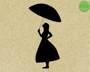 girl holding an umbrella SVG cut files, DXF, vector EPS cutting file instant download for cricut and other uses