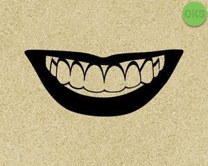 smile, smiling with teeth SVG cut files, DXF, vector EPS cutting file instant download for cricut and other uses
