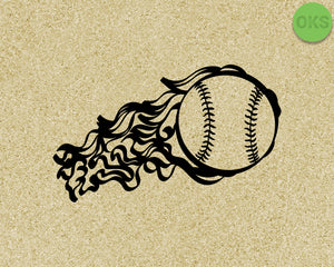flaming baseball SVG cut files, DXF, vector EPS cutting file instant download for cricut and other uses