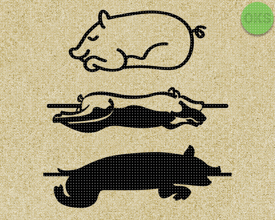 pig roast SVG cut files, DXF, vector EPS cutting file instant download for cricut and other uses
