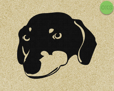 dachshund face SVG cut files, DXF, vector EPS cutting file instant download for cricut and other uses