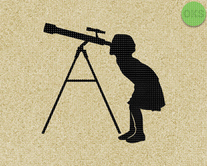girl looking through a telescope SVG cut files, DXF, vector EPS cutting file instant download for cricut and other uses