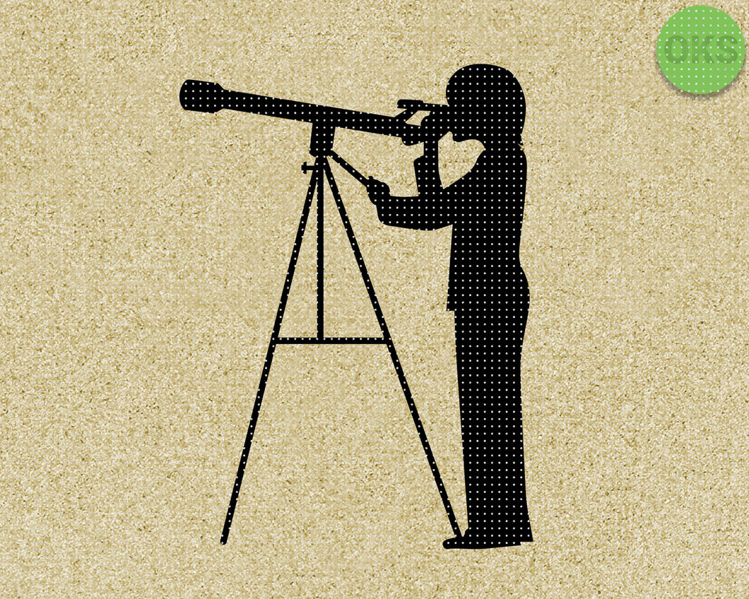 FREE boy looking through a telescope SVG cut files, DXF, vector EPS cutting file instant download for cricut and other uses
