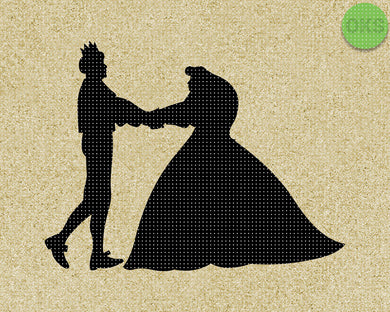 Prince and Princess couple holding hands SVG cut files, DXF, vector EPS cutting file instant download for cricut and other uses
