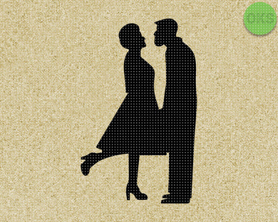 old couple kissing silhouette SVG cut files, DXF, vector EPS cutting file instant download for cricut and other uses