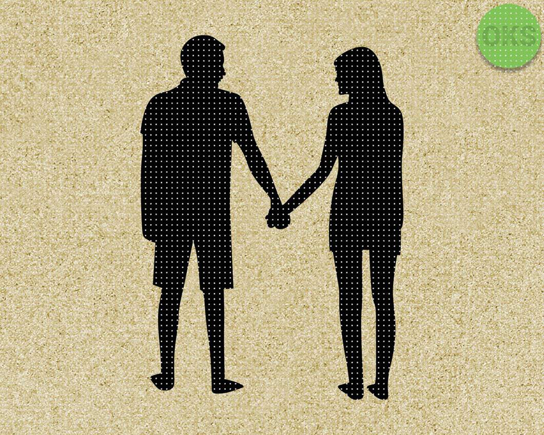 couple holding hands looking SVG cut files, DXF, vector EPS cutting file instant download for cricut and other uses