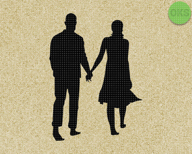 couple holding hands silhouette  walking SVG cut files, DXF, vector EPS cutting file instant download for cricut and other uses