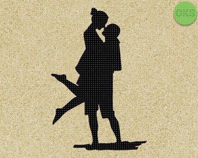 couple kissing silhouette SVG cut files, DXF, vector EPS cutting file instant download for cricut and other uses