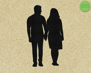 couple holding hands silhouette SVG cut files, DXF, vector EPS cutting file instant download for cricut and other uses