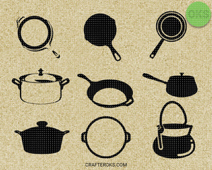 Frying, Cooking pan, skillet, pot SVG file, DXF, free SVG cut file instant download for cricut and other uses