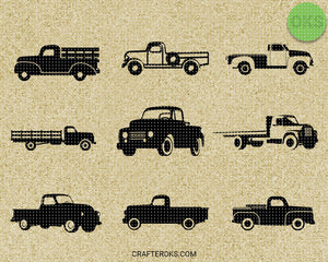 Vintage farm pickup truck SVG file, DXF, free SVG cut file instant download for cricut and other uses