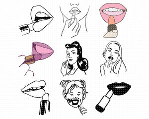 Putting on Lipstick svg, dxf, vector, eps, clipart, cricut, download