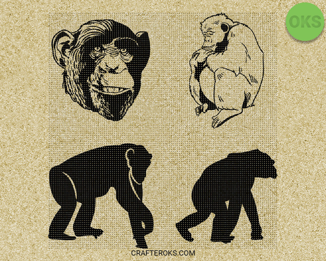 chimp SVG file, chimpanzee DXF, monkey clipart, eps, vector cut file for cricut and silhouette