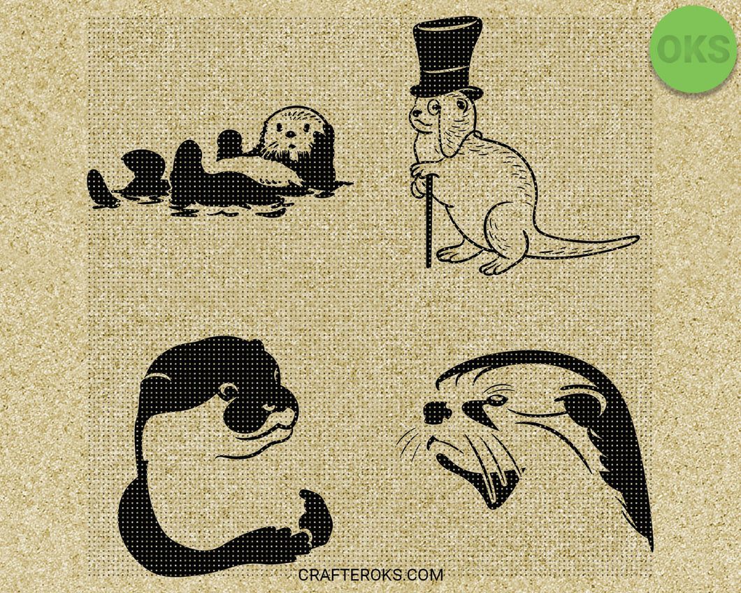 otter SVG file, DXF, free SVG cut file instant download for cricut and other uses