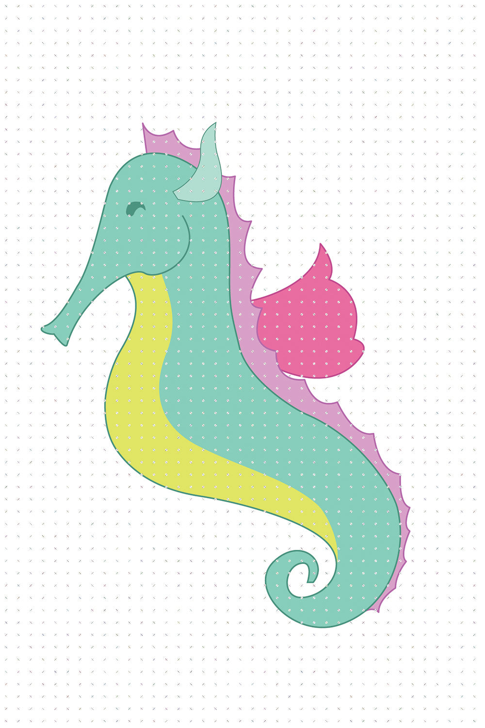 FREE colorful seahorse PNG clipart instant download for Personal Use