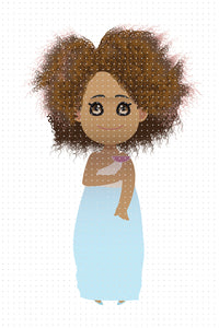 FREE African American woman wearing a light blue evening gown PNG clipart instant download for Personal Use