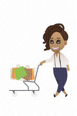 FREE cute african american everyday scene- shopping with a cart PNG clipart instant download for Personal Use
