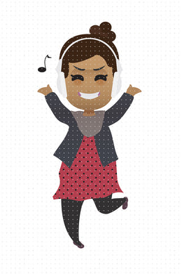 FREE dancing African American girl with headphones PNG clipart instant download for Personal Use
