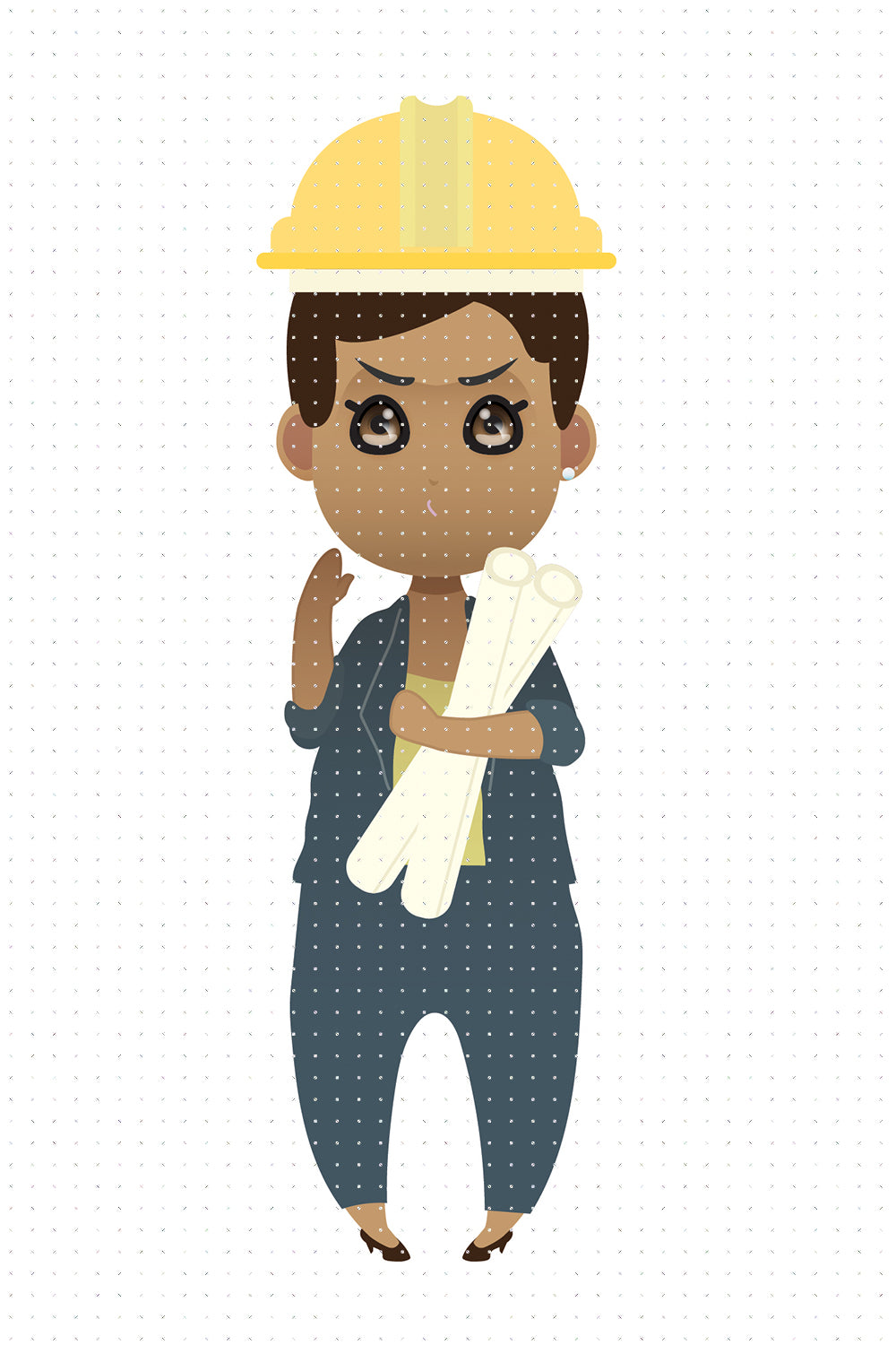 FREE African American woman engineer boss in a construction site wearing a hard hat PNG clipart instant download for Personal Use