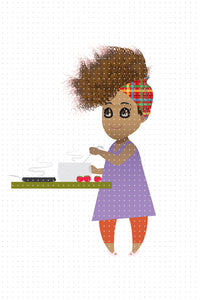 FREE African American Woman cooking dinner PNG clipart instant download for Personal Use