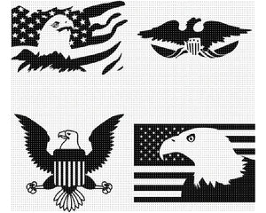 american eagle SVG file, US flag DXF, clipart, eps, vector cut file for cricut and silhouette
