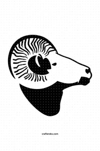 FREE aries zodiac sign and ram head for Personal Use SVG, PNG clipart, DXF, clipart, EPS, vector cut file instant download