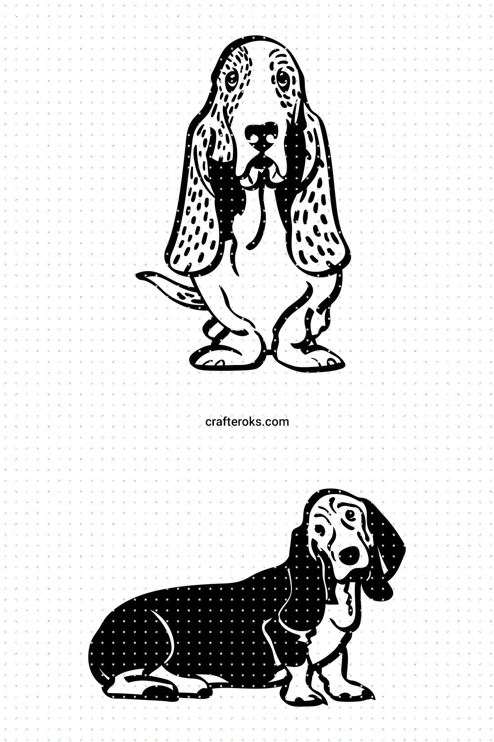 Basset Hound SVG, PNG, DXF, clipart, EPS, vector cut file instant download