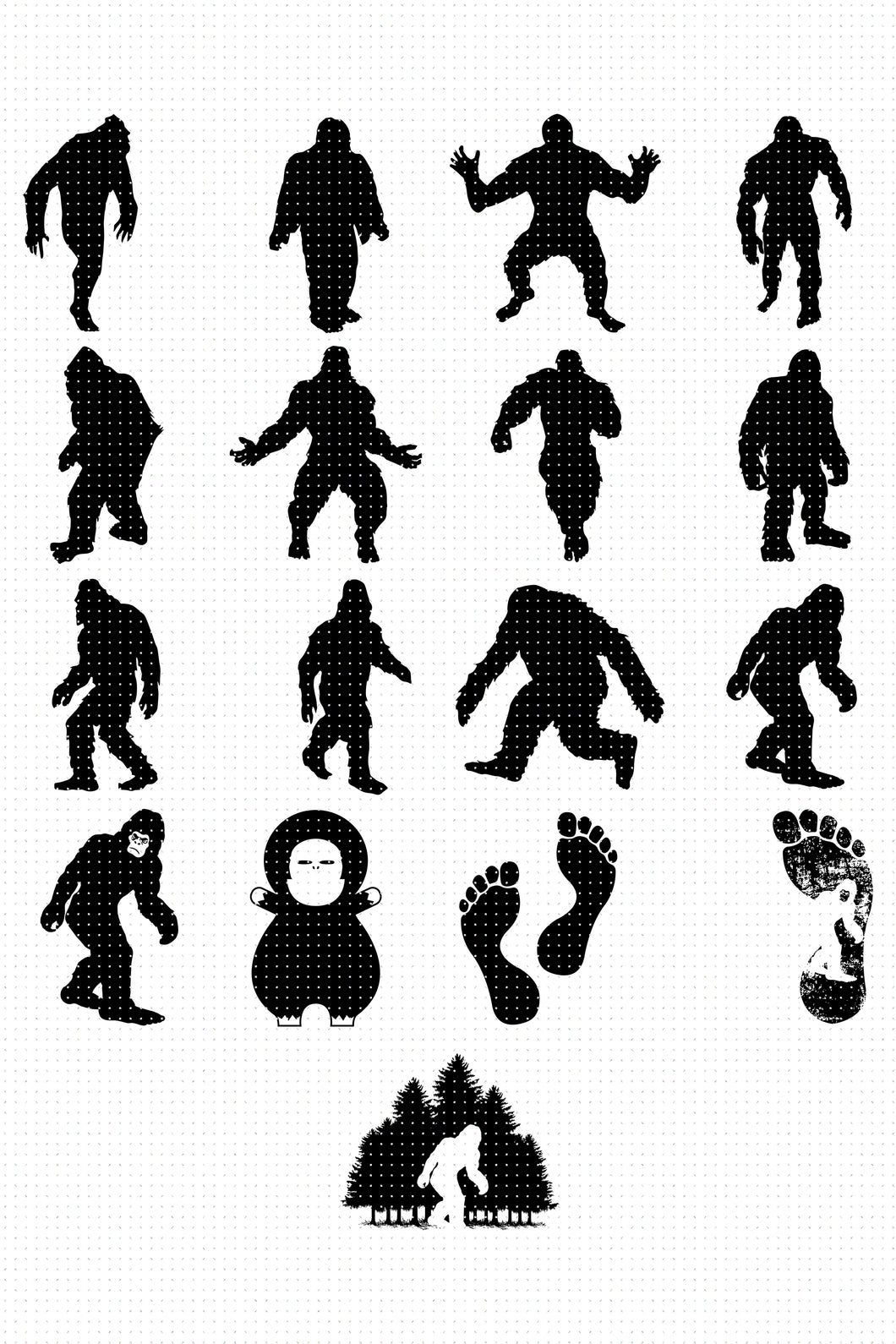 bigfoot SVG, PNG, DXF, clipart, EPS, vector cut file instant download