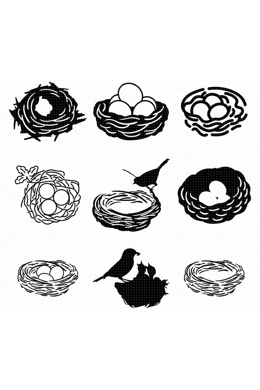 bird's nest SVG, PNG, DXF, clipart, EPS, vector cut file instant download