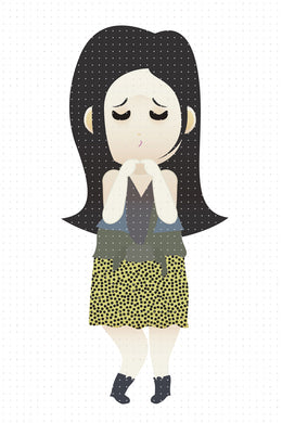 FREE fashionably cute black haired girl PNG clipart instant download for Personal Use