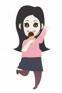FREE black haired girl eating ice cream PNG clipart instant download for Personal Use