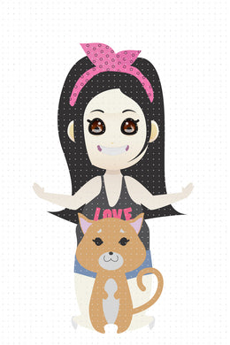 FREE black haired girl with her cute brown cat PNG clipart instant download for Personal Use