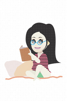 FREE asian girl reading a book at bed PNG clipart instant download for Personal Use