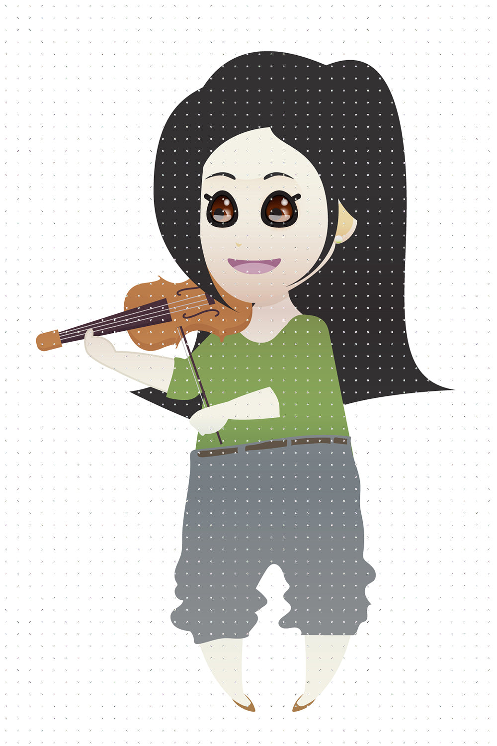 FREE asian girl playing the violin PNG clipart instant download for Personal Use