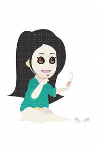 FREE asian girl putting on lipstick and makeup PNG clipart instant download for Personal Use